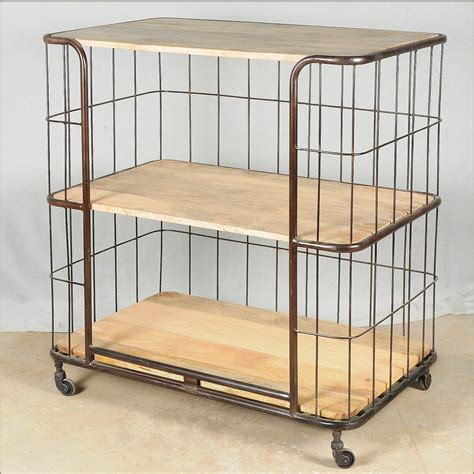 3 Shelf Rolling Cart by Industrial Reclaimed Wood Iron Rolling 3 Storage