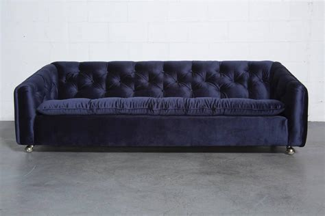 Artifort Blue Velvet Tufted Rolling Sofa For Sale At 1stdibs Blue Velvet Tufted Sofa
