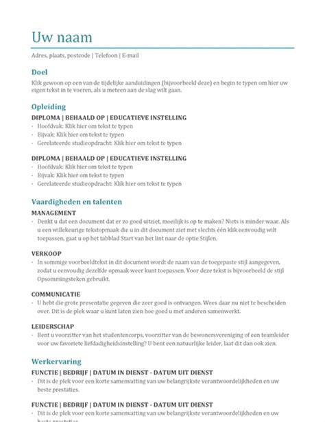 Chronologisch Cv Sjabloon Cv Kleur Office Templates