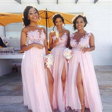 Bridesmaid Dresses 2018 Summer - 2018 pink chiffon bridesmaid dresses sheer neck cap