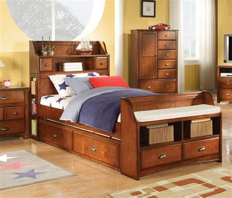 acme furniture brandon oak twin bed with storage