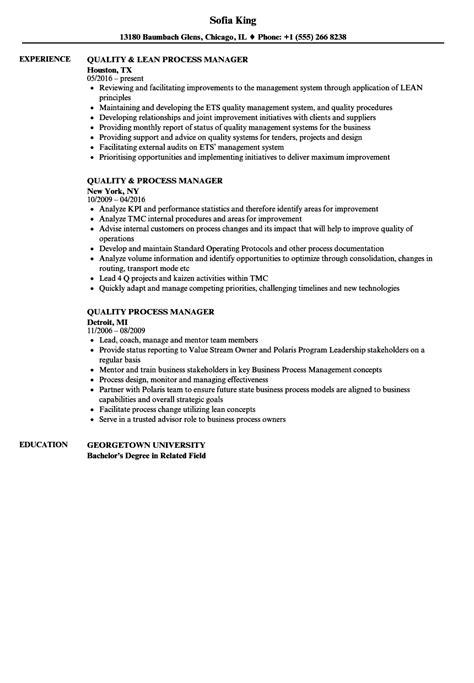 quality process manager resume samples velvet jobs