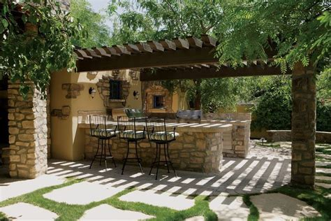 Rustic Patio With Trellis Amp Outdoor Pizza Oven In