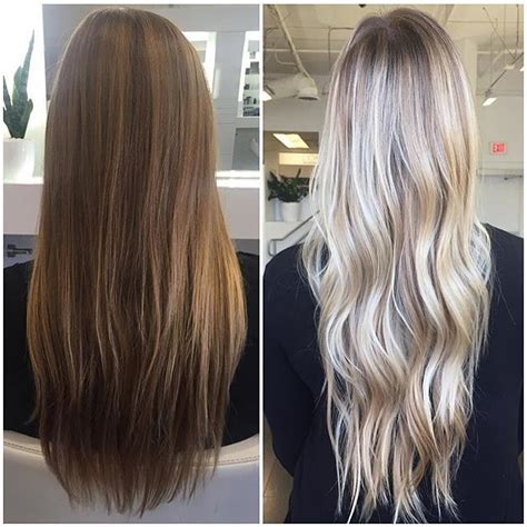 brown hair to blonde balayage before and after chunky highlights for pictures to pin on pinterest