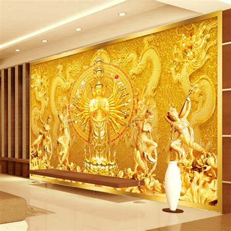 3d wall mural aliexpress buy gold buddha photo wallpaper custom 3d