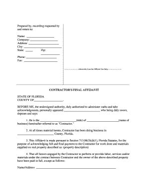 state affidavit fl fill online printable fillable