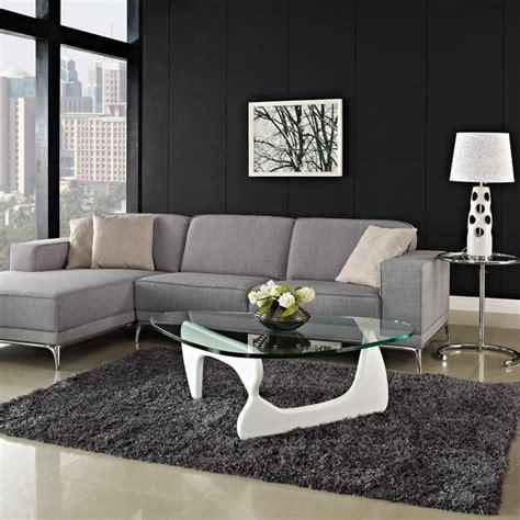 grauer teppich wohnzimmer glas weiss couchtisch ideen modern noguchi design grauer