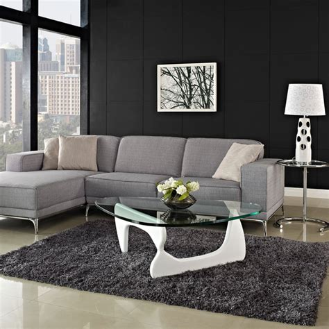 modern white wood  triangle glass noguchi inspired coffee table modern coffee tables