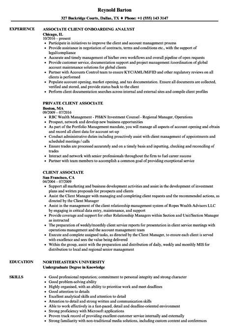 client associate resume sles velvet