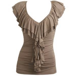 shirred ruffle top women s clothing and apparel chic