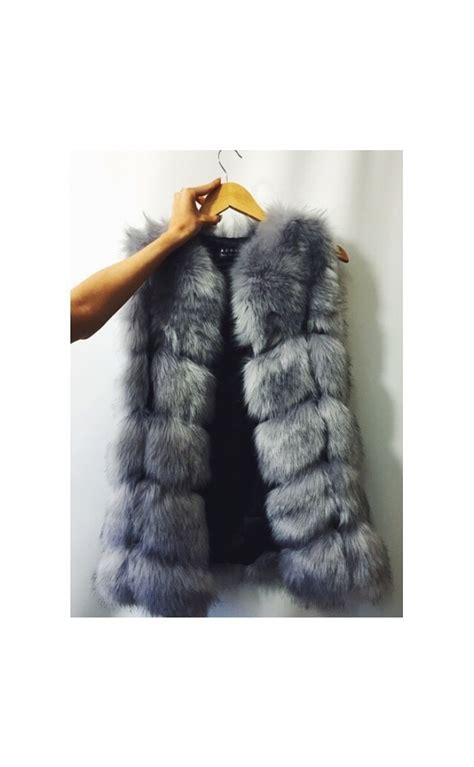 quot bella quot grey luxury faux fur gilet