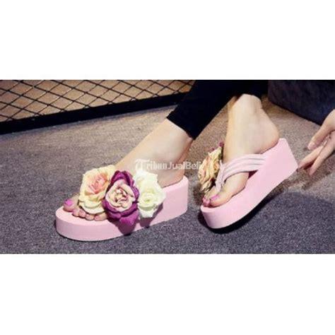 Wedges Silang T 1 3 9 Hitam Murah sendal wanita three flowers wedge design shoes harga