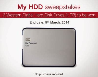 Amazon India Sweepstakes - contest answer win western digital 1tb hdd amazon india free sles daily