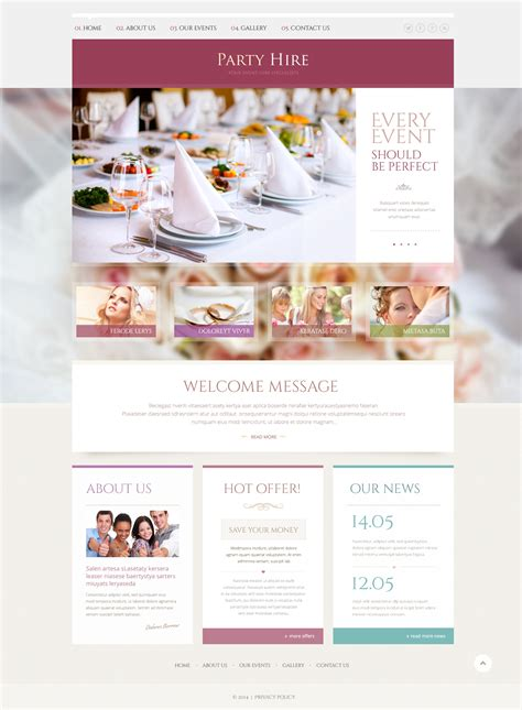 design event website event planner responsive website template 49240