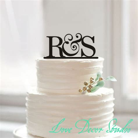 Wedding Cake Letter Toppers cake topperbride and groom initial cake topper wedding