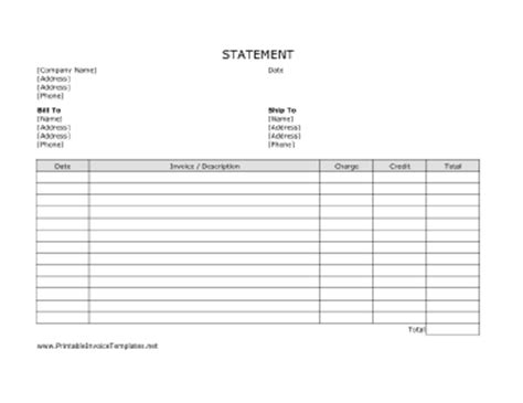 blank credit card statement template billing statement template
