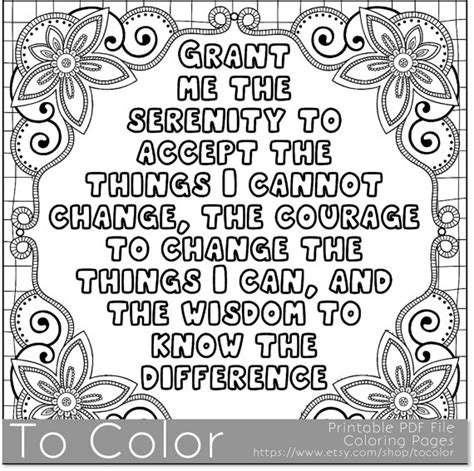 printable book quotes printable serenity coloring page for adults pdf jpg
