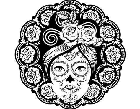 Mexican Skull Female Coloring Page Coloringcrew Com Mexican Skull Coloring Pages
