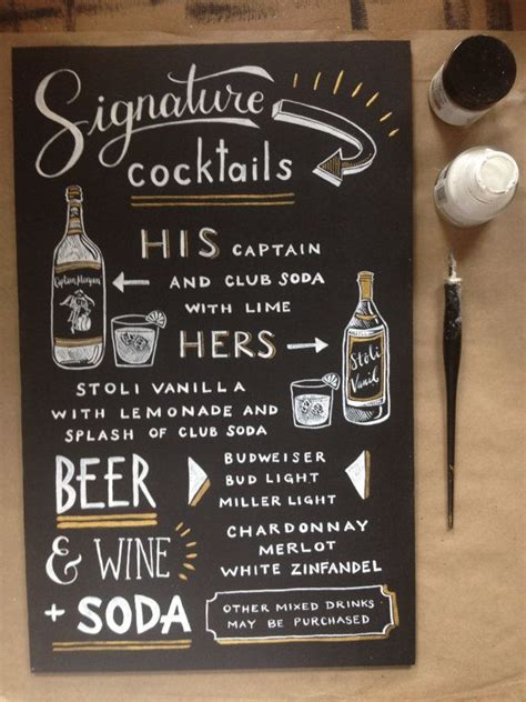 chalkboard signature cocktail sign his and her by