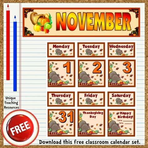 bulletin board calendar template free printable november classroom calendar for school teachers