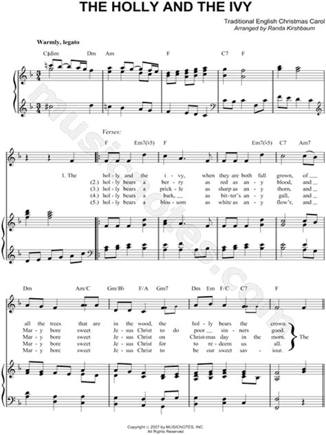 """Traditional English Carol """"The Holly and the Ivy"""" Sheet"""