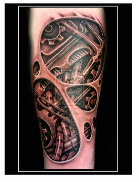 biomechanical tattoos mechanical gears biomechanical underskin