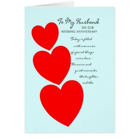 Template For Birthday Cards To From Husband by Husband Wedding Anniversary Card Hearts Zazzle