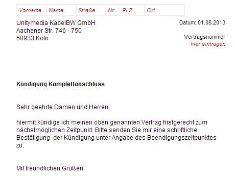 Kfz Versicherung K Ndigen Leasing by Unitymedia K 252 Ndigung Vorlage Chip
