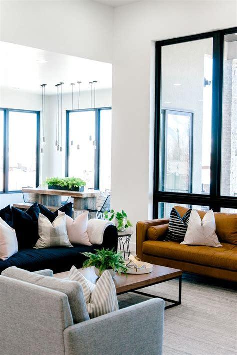living room interior design dark blue sofa  white