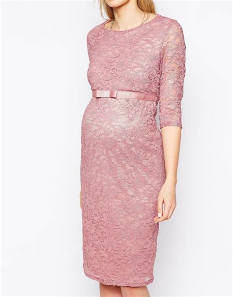 maternity sleeve lace dress lyst asos maternity lace bodycon dress with 3 4 sleeve