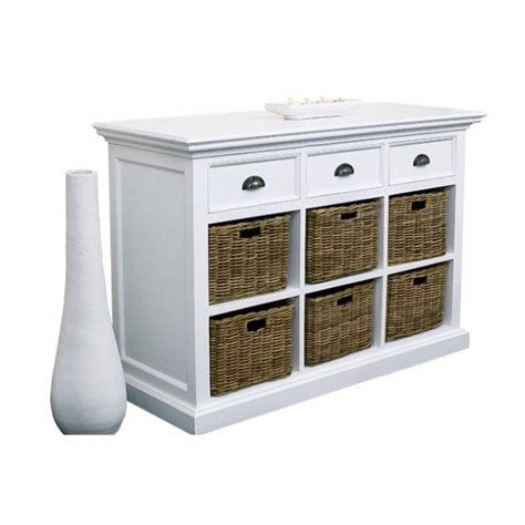 Sideboards With Baskets white painted furniture dining room sideboard with 6 rattan baskets ebay