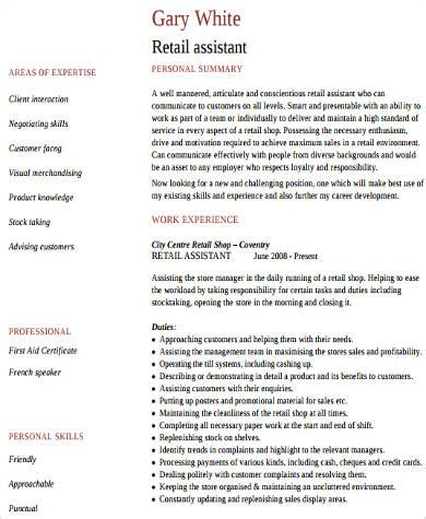 Does Working In Retail Count As Experience For Mba by Sle Work Experience Resume 10 Exles In Word Pdf