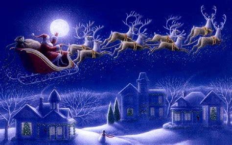 santa claus sleigh  reindeer greeting card wallpaper