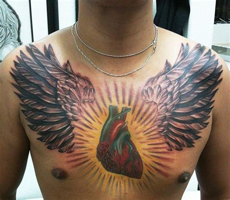 3d chest tattoo winged color ink 3d on chest