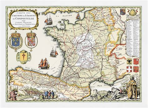 carte illustr 233 e st jacques de compostelle p 232 lerinage