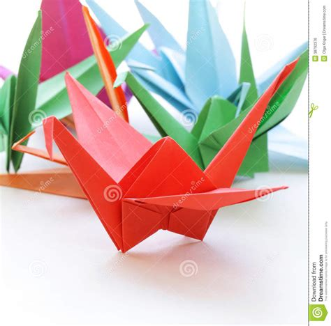 Colorful Origami - colorful paper origami birds stock photo image 38792376