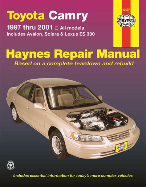 haynes toyota camry avalon solara and lexus es300 330 2002 2006 auto repair manual 92007 haynes repair manual toyota camry avalon solara lexus es 300 97 01 ebay