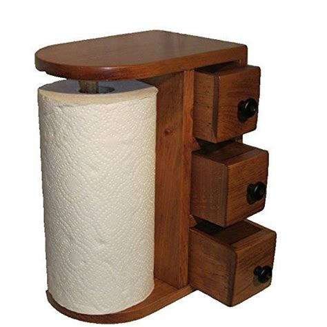 amish handcrafted wooden paper towel holder station   drawers solid wood finished