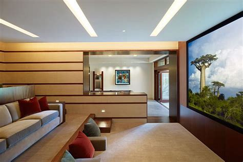 stylish modern home theater with versatile seating plan