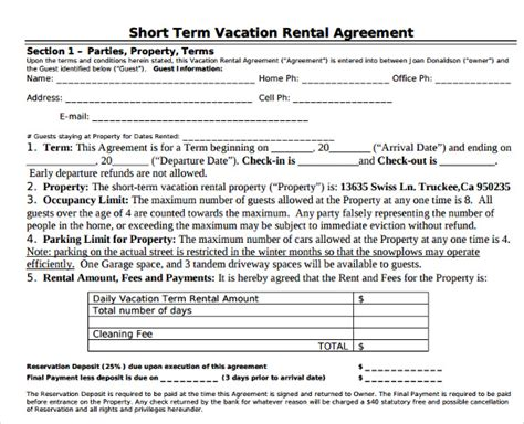 Vacation Rental Agreement 8 Download Documents Free In Pdf Word Condo Rental Agreement Template