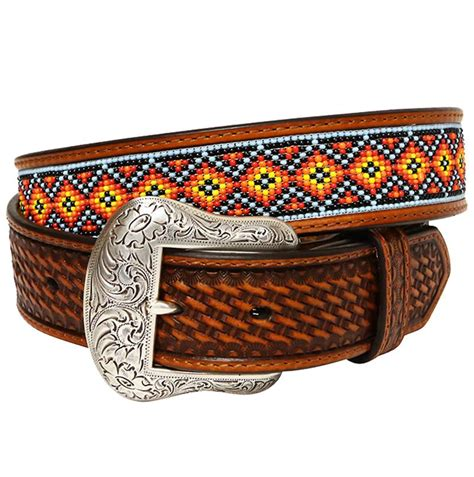 beaded cowboy belts nocona mens embossed with beaded inlay cowboy belt