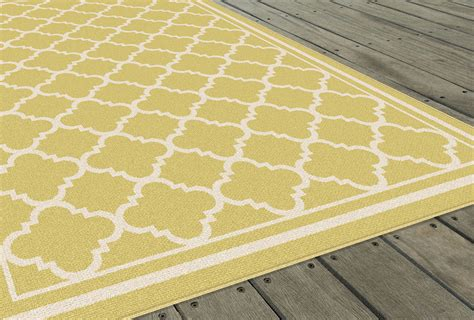 Moroccan Outdoor Rug Garden City Yellow Transitional Moroccan Outdoor Geometric Gct1012 Area Rug Ebay