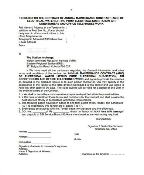electrician contract template sle maintenance contract forms 8 free documents in