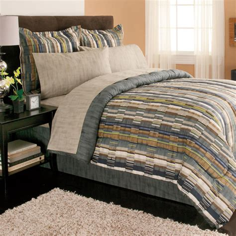 mainstays bedding set mainstays brett bed in a bag bedding set walmart com