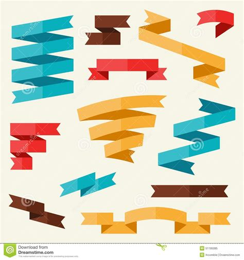 flat design poster vector banners and ribbons in flat design style stock vector