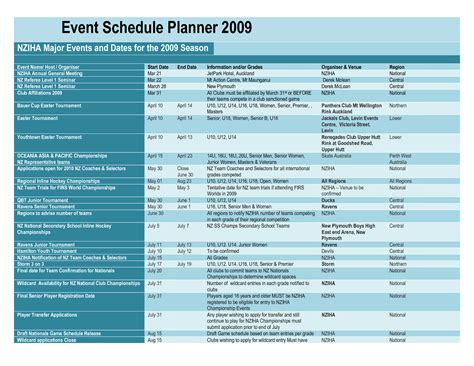 wedding planning schedule important information template for planner calendar template 2016