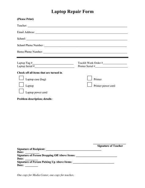 computer repair work order form template best photos of computer repair form template dental