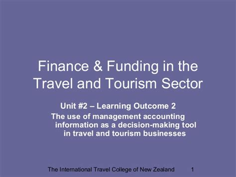 Mba In Travel And Tourism Management Colleges In India by Finance Funding In Travel And Tourism Management