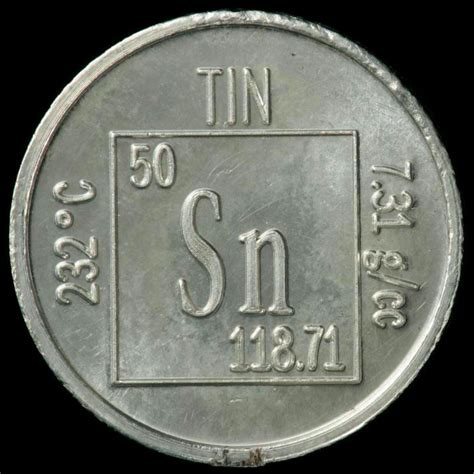 Periodic Table Tin by Element Coin A Sle Of The Element Tin In The Periodic
