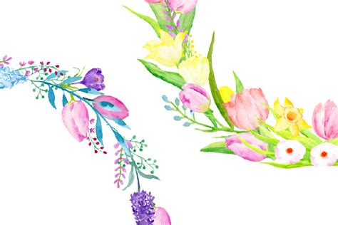 watercolor spring flower wreath by cornercroft